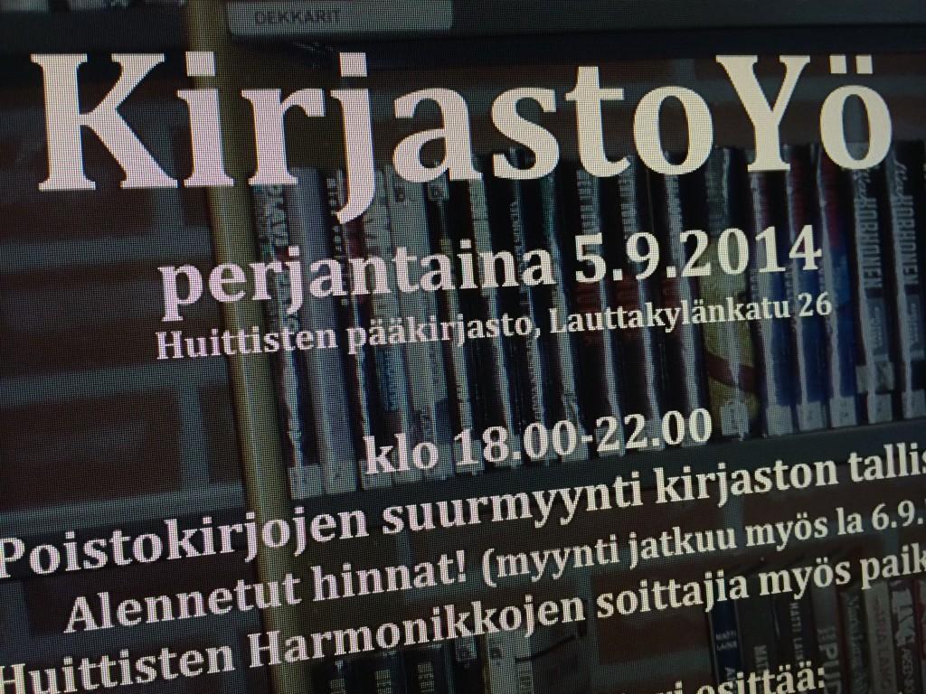 Huittisten Syyspäivien ohjelma alkaa perjantaina 5.9. KirjastoYöllä. Kuva: Tuomas Kuhalainen